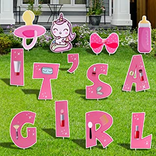 FiGoal Newborn Yard Signs for (Girl) Corrugated Yard Stake Signs Outdoor Decorations with Stakes Yard Signs for Newborn Ya...