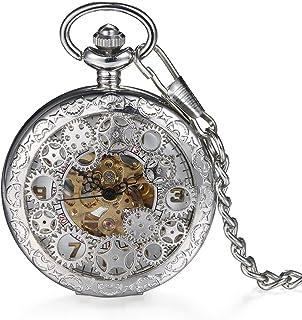 LANCARDO Reloj de Bolsillo Mecánico de Cuerda Manual Cubierta Forma de Engranajes Collar de Suéter Retro con Colgante Cade...