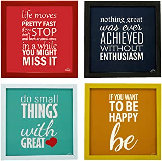 Indianara 4 Piece Set of Multicolor Framed Wall Hanging Motivational Office Decor Art Prints (1429) 8.7 inch X 8.7 inch Wi...