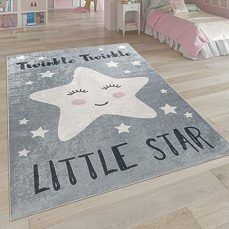 Kinderzimmer Teppich Modern Sterne Sternen-Himmel 80x150 cm Grau carpet city Kinderteppich L/äufer