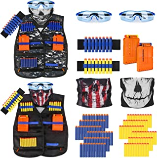 Kids Tactical Vest Kit for Nerf Guns Series with Refill Darts,Dart Pouch, Reload Clips,..