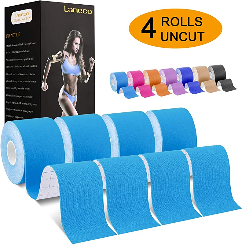 Laneco Kinesiology Tape 19 7ft Uncut Per Roll 4 Pack Latex Free Physio Tape Breathable Water Resistant Sports Tape For Muscles Joints Pain Relief And Injury Recovery Free Taping Guide