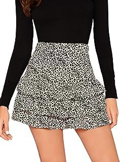 Verdusa Women's Leopard Print Layered Ruffle Hem Mini Skirt