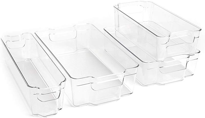 Dial Industries Refrigerator Organizer Stackable Bins Set Of 4 Assorted