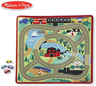 """Melissa & Doug Round the Town Road Rug & Car Set (Cars & Trucks, Safe for All Floors, 4 Wooden Cars, 36"""" W x 39"""