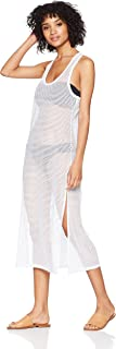 Women's Solid Maxi Crochet Racerback Cover Up Tank Dress