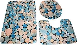 Home Concept 3 Pcs/Set Bathroom Anti-Slip Pedestal Rug plus Lid Toilet Cover plus Bath Mat, Multi Color, 686754125260