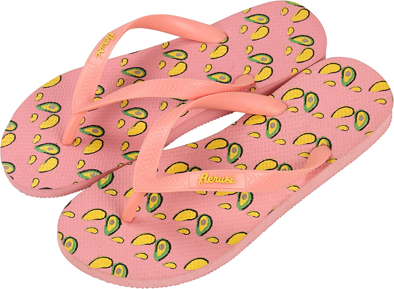 Aerusi Ocean Corte Series Strawberry Design Flip Flop Sandal Slippers, US Woman Size 7.5-8.5 / Man Size 6-7, 2 Piece