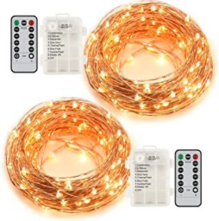 Ylife Fairy Lights Battery Operated, 16.4Ft 50 LED Waterproof Warm White String Lights with Remote, Decorative Copper Wire Mini Lights for Festival Party (2 Pack)