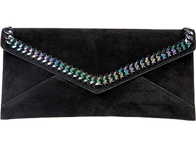 Rebecca Minkoff Leo East/West Clutch w/ Chain Inset (Black) Handbags
