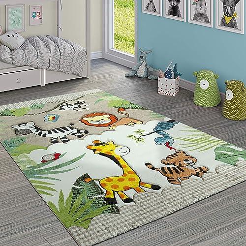 Paco Home Tapis pour Enfant Jungle Animaux Beige Crème, Dimension:80x150 cm