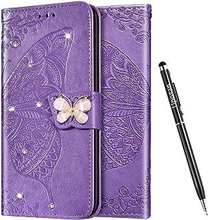 Uposao Funda para Huawei P30 Pro con Tapa,Funda Libro Carcasa Cuero Piel,Mariposa Flor Diamante Brillante Glitter Purpurin...