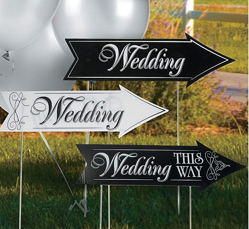 Wedding Directional Road Signs (3 Cardboard Signs) Includes Metal Stakes