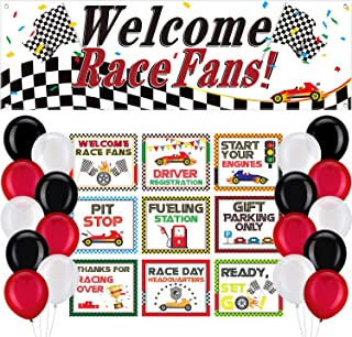 40 Pieces Race Car Party Decoration Set Welcome Race Fans Banner and Racing Cutouts and Racing Themed Balloons Race Car Party Suppliers and Favors