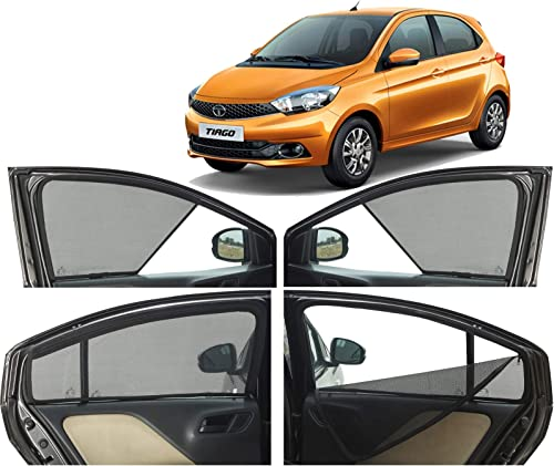 Autofact Half Magnetic Window Sunshades/Curtains for Tata Tiago [Set of 4pc - Front 2pc Half Without Zipper ; Rear 2p...