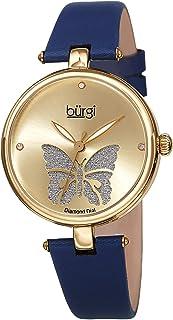 Burgi Designer Women's Watch – Pretty Butterfly Glitter Dial, Satin Over Genuine Leather Strap, 3 Diamond Markers, Polished Bezel - BUR233