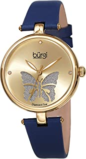 Burgi® BUR189 - Reloj de pulsera para mujer con esfera de corte de rosas con purpurina en polvo satinado
