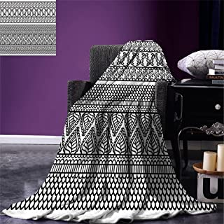smallbeefly Henna Custom Design Cozy Flannel Blanket Detailed Artistic Borders with Far Eastern Culture Elements Classical Traditional Lightweight Blanket Extra Big Black White