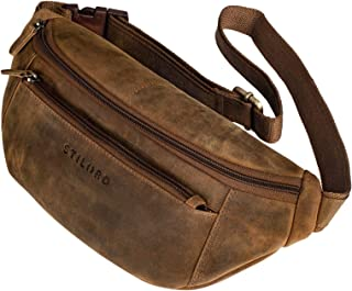 """STILORD Bryce"""" Bauchtasche Leder Gürteltasche Damen Herren Vintage Hüfttasche Reisetasche Urlaub Jogging Festival Echtleder, Farbe:mittel - braun"""