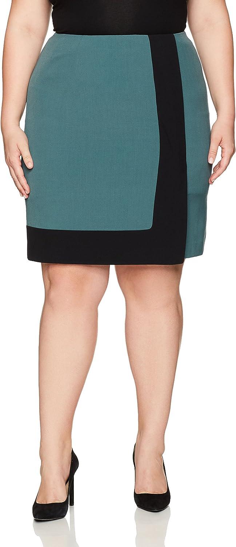 Nine West Womens Plus Size a Line colorblock Skirt Skirt