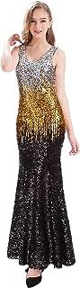 MANER Women V Neck Sequin Long Dress Sleeveless Evening Prom Formal Mermaid Gowns