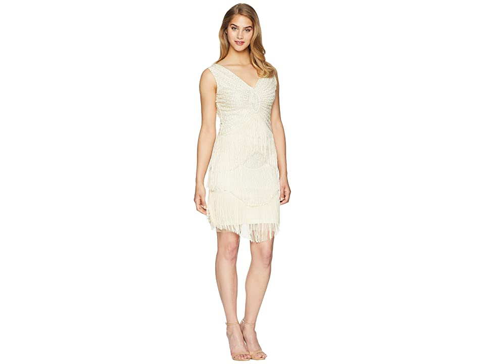 Unique Vintage Beaded Renee Fringe Cocktail Dress (Ivory) Women