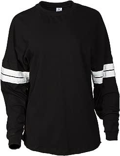 Women's Crew Neck Football Tee Soft Premium Striped Long Sleeve