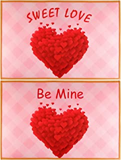 KUUQA 2Pack Valentine's Day Doormats Love Floor Mat Red Heart Door Mat Valentines Welcome Mat Indoor Outdoor Doormat for F...