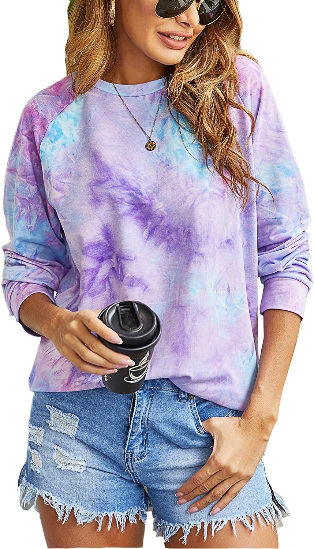 wearella Women's Tie Dye Sweatshirt Raglan Long Sleeves Pullover Loose Casual Tunic Shirt