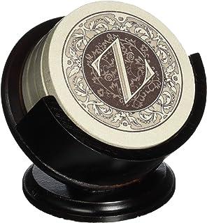 Thirstystone Monogram Sandstone Coaster Set With Pedestal Holder