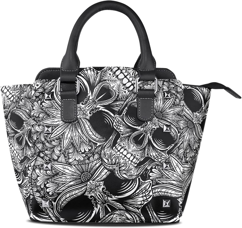 My Little Nest Women's Top Handle Satchel Handbag Black White Tattoo Skull Ladies PU Leather Shoulder Bag Crossbody Bag