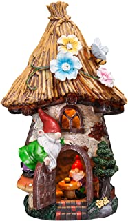 TERESA'S COLLECTIONS 12.2 Inch Fairy Garden House Statues with Gnomes, Solar Powered Garden Lights Garden Figurines for Ou...