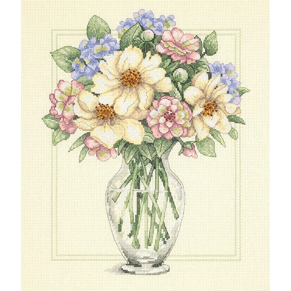 Dimensions Flowers In Tall Vase Counted Cross Stitch Kit: 12x14
