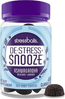 Stressballs Snooze Stress Relief Supplement and Sleep Aid to De-Stress and Sleep*, Gummies with Melatonin and an Herbal Bl...