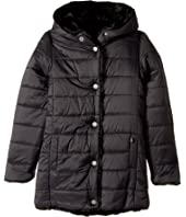 Karl Lagerfeld Kids - Reversible Nylon Coat with Faux Fur On The Other (Little Kids)