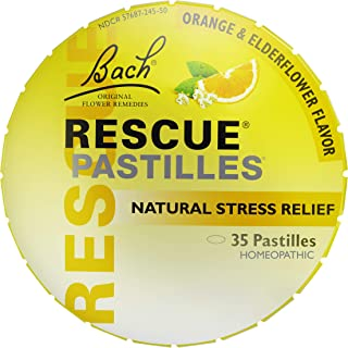 RESCUE PASTILLES, Homeopathic Stress Relief, Natural Orange & Elderflower Flavor - 35 Pastilles