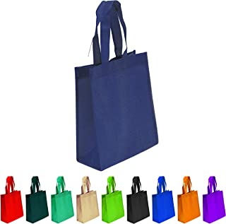 10 Pack Navy Blue Non-woven Reusable Tote Bags, Heavy Duty Non-woven Polypropylene, Small Gift Tote Bag, Book Bag, Non Woven Bag Multipurpose Art Craft Screen Print School Bag (Navy Blue, Set of 10)