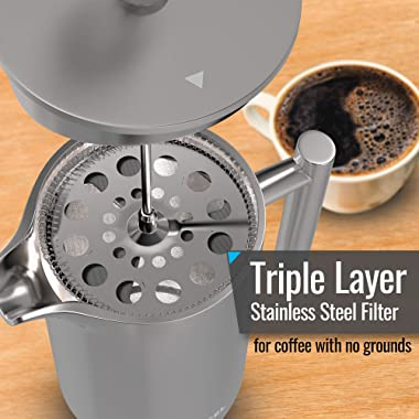 LÖFFEL French Press Stainless Steel Coffee and Tea Press Maker - Includes Silicone Mat, Coffee Scoop/Clip, Extra Filters - Sa
