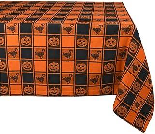 "DII 100% Cotton, Machine Washable, Dinner, Fall & Halloween Tablecloth, 60x84"" , Black & Orange Check with Jack O' Lantern..."