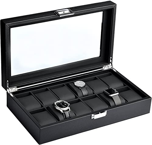 Mantello Watch Box for Men - 12-Slot Accessory Holder for Watches, Bracelets and Cuffs - Glass Lid Window on Carbon F...