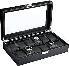 Mantello Black Carbon Fiber 12-Watch Box Showcase Jewelry Case Organizer