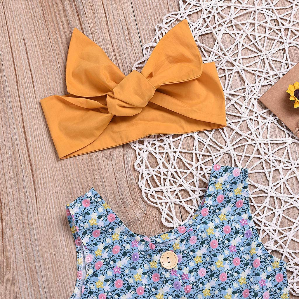 RYGHEWE Newborn Baby Girl Summer Clothes Floral Print Vest Tops Solid Lace Shorts with Headband Outfit Sets