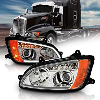 AmeriLite Chrome Projector Replacement Headlights LED Bar Turn Signal Set for Kenworth T660 (Pair) High/Low Beam Bulb Included