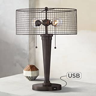 Nolan Industrial Accent Table Lamp with Hotel Style USB Port Rustic Iron Bronze Wire Mesh Drum Shade for Living Room Bedroom - Franklin Iron Works