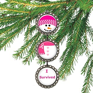 I Survived Breast Cancer Bottlecap Christmas Ornament