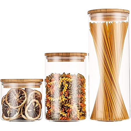 RESYOTE Glass Jar Storage with Lid Kitchen Canisters Pack of 3 Baking Jars Containers Storage Glass Airtight Canisters with Sealed Bamboo Lids for Pantry Serving