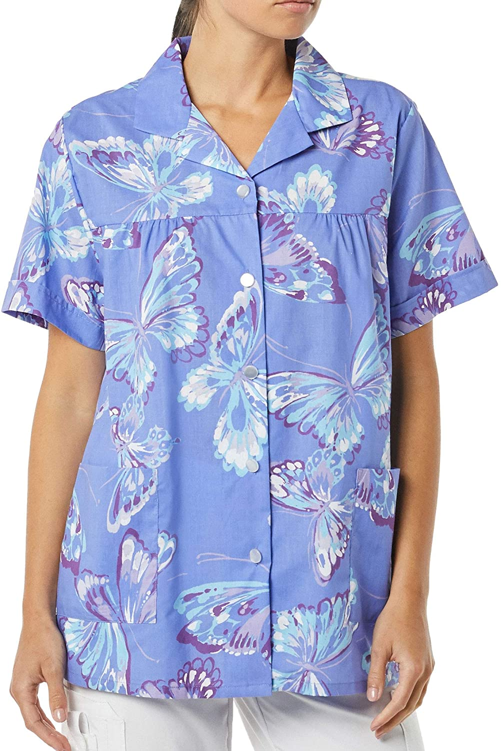AmeriMark Women's Button Front Smock – Casual Button-Down Shirt w/Patch Pockets