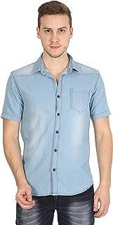 OJASS Men's Self Design Casual Blue Shirt