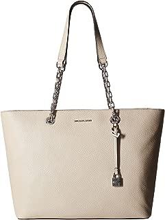 Womens Mercer Leather Pebbled Tote Handbag Gray Large