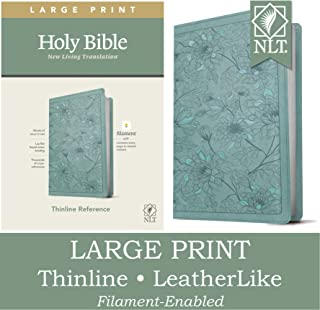 NLT Large Print Thinline Reference Holy Bible (Red Letter, LeatherLike, Floral Leaf Teal): Includes Free Access to the Fil...